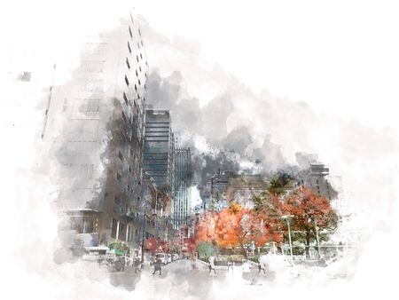 Abstract colorful branch tree and building in the city on watercolor illustration painting background. Reklamní fotografie