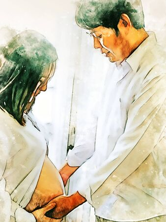 Abstract colorful close-up pregnant woman with husband and hug on white background on watercolor illustration painting background.