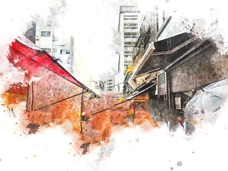 Abstract beautiful city landscape of Tokyo city cover the wind on watercolor illustration painting background. 版權商用圖片 - 137929994