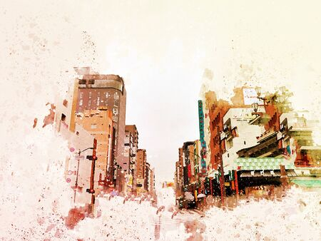 Abstract beautiful city landscape of Tokyo city cover the wind on watercolor illustration painting background. 版權商用圖片
