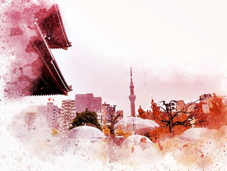 Abstract colorful city landscape of Tokyo city cover the wind on watercolor illustration painting background.