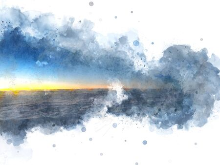 Abstract colorful sunset and clouds from the plane window on watercolor illustration painting background.