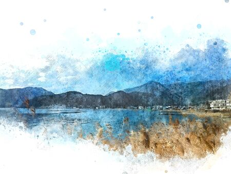Abstract colorful mountain range and river lake in Japan on watercolor illustration painting background. Reklamní fotografie