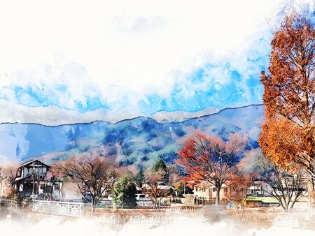 Abstract colorful mountain range in Japan on watercolor illustration painting background. Reklamní fotografie