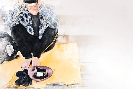 Abstract senior homeless man wish money at walking street on watercolor illustration painting background.