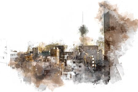 Abstract offices Building in the city on watercolor painting background. City on Digital illustration brush to art. Фото со стока