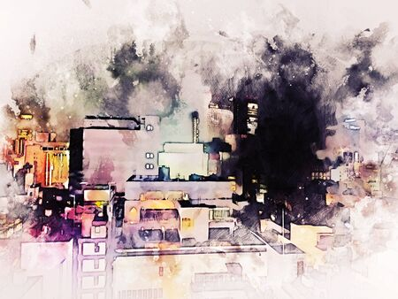 Abstract Building in Osaka city at night on watercolor painting background. City on Digital illustration brush to art Фото со стока