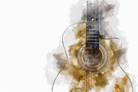 Abstract colorful acoustic guitar equipment on watercolor illustration painting background.