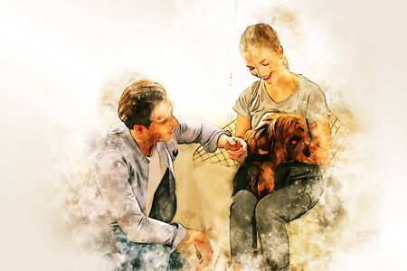 Abstract colorful young couple lover smile portrait and fun dog at house on watercolor illustration painting background.