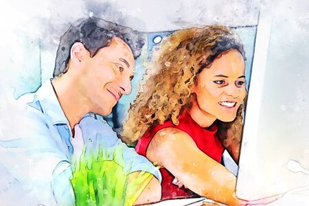 Abstract colorful young couple business partner talking and Discuss work on the desk on watercolor illustration painting background. Фото со стока