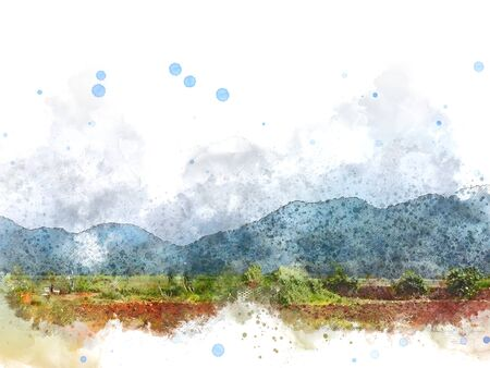 Abstract colorful mountain peak and tree landscape on watercolor illustration painting background.