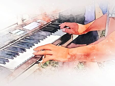 Abstract abstract man playing piano keyboard on watercolor illustration painting background. Фото со стока