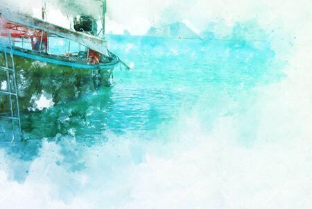 Abstract colorful fishing boat on water sea in Thailand on watercolor illustration painting background.