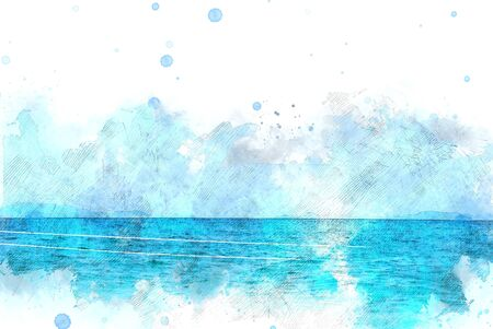 Abstract colorful wave sea ocean water in Krabi, Thailand on watercolor illustration painting background.