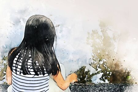 Abstract colorful beautiful kids girl walking street and traveling in the park on watercolor illustration painting background.