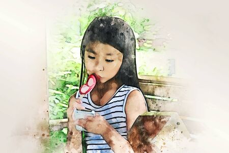 Abstract colorful beautiful kids girl eating ice dream and traveling in the park on watercolor illustration painting background.