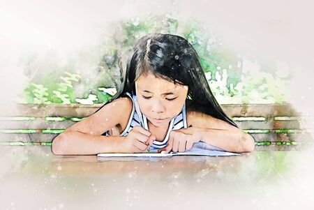 Abstract colorful girl kids learning and working homework on watercolor illustration painting background. Zdjęcie Seryjne