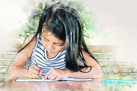 Abstract colorful girl kids learning and working homework on watercolor illustration painting background. Фото со стока