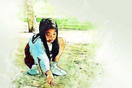 Beautiful kid girl writing and drawing on ground in holiday weekend on watercolor illustration painting background.