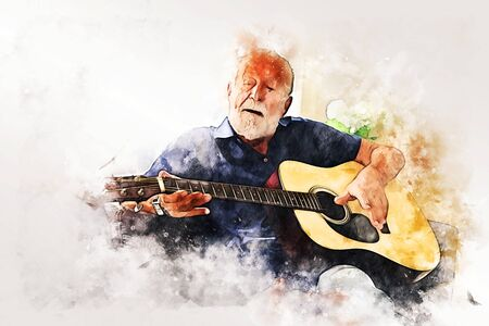 Abstract senior man playing acoustic Guitar in the foreground on Watercolor painting background and Digital illustration brush to art.