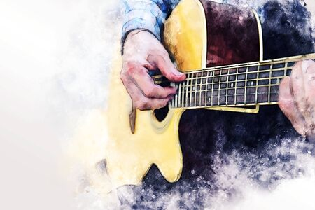 Close up abstract beautiful man playing acoustic guitar on walking street on watercolor illustration painting background. Banco de Imagens