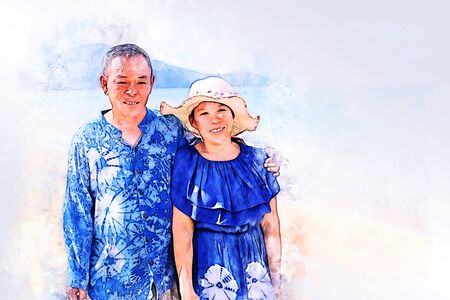 Abstract colorful senior couple traveling on the beach at Phuket, Thailand on  illustration .
