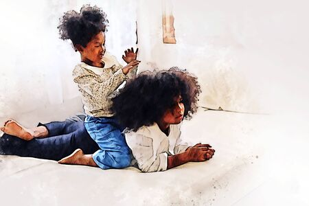 The two African girl siblings are having fun and tease each other in the bedroom during the holidays on watercolor illustration painting background.