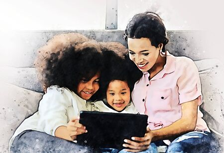 Abstract colorful american kid girl and mom smile portrait looking smart phone for learning at home on watercolor illustration painting background.