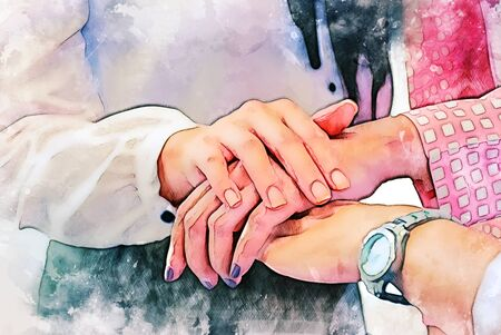 Abstract colorful business handshake teamwork on watercolor illustration painting background.