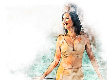 Abstract colorful beautiful Asia woman sexy and smile portrait on beach and soft sunrise on watercolor illustration painting background. Imagens