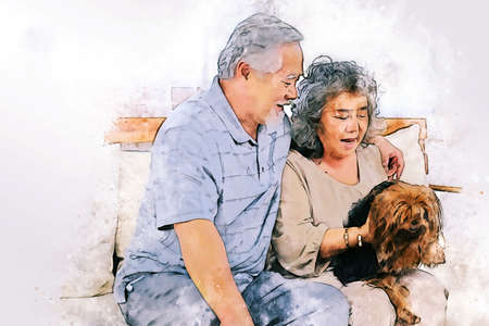 Abstract colorful happiness Asia senior couple lover relaxation and resting at home on watercolor illustration painting background.