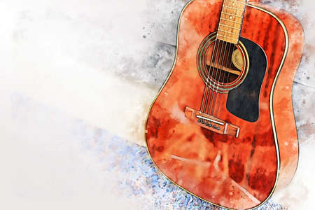 Abstract colorful acoustic guitar in the foreground on Watercolor painting background and Digital illustration brush to art.