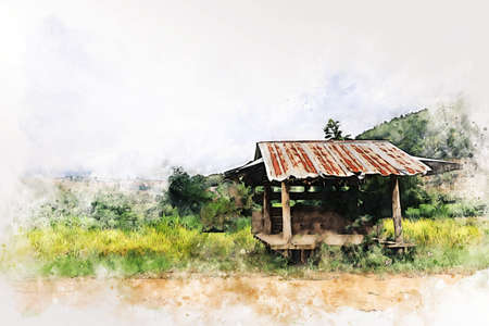 Abstract colorful tree and field landscape in Thailand on watercolor illustration painting background. 免版税图像