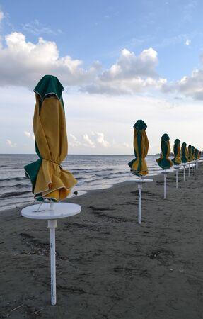 Closed umbrellas