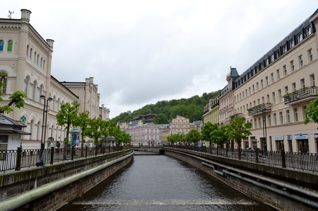 vary: A stream in Karlovy Vary and buildings Stock Photo