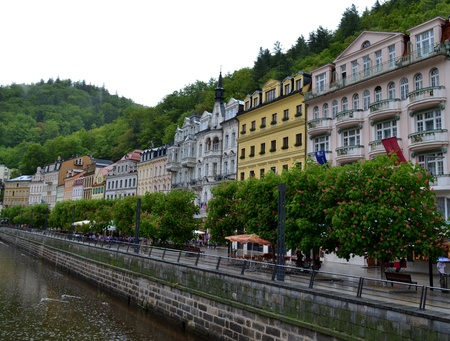 karlovy: A stream in Karlovy Vary and buildings Stock Photo