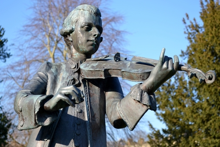 mozart: A statue of Mozart from Bath Stock Photo