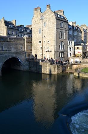 somerset: Bridge from Bath and blue sky Stock Photo