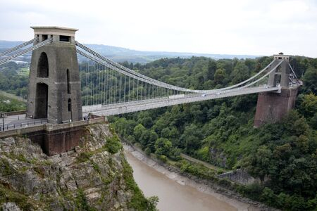 Clifton suspension bridge and cloudy sky photo