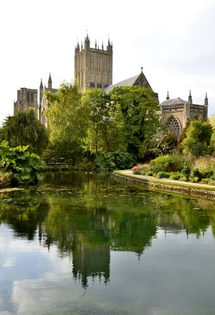 wells: Wells cathedral and water reflections