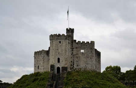 norman castle: Cardiff castle and grey sky