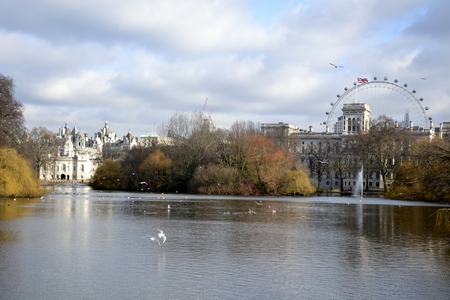 st jamess: Buildings and water reflections from St James park in London Editorial