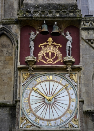 wells: Old clock from Wells Cathedral