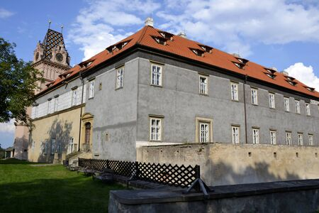 nad: Exterior architecture of Brandys nad Labem castle and blue sky