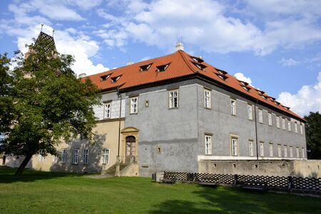 nad': Exterior architecture of Brandys nad Labem castle and blue sky