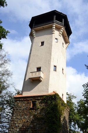 karlovy: Diana tower with blue sky