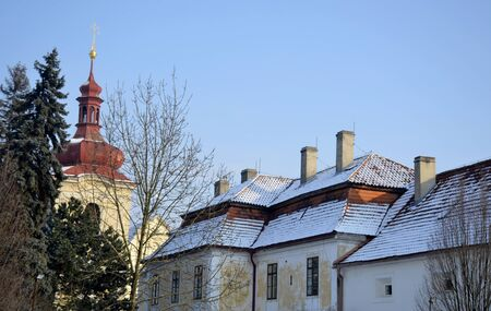 nad: Brandys nad Labem buildings and snow Stock Photo