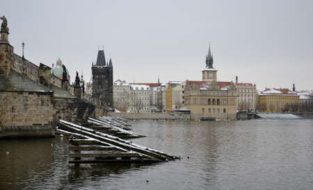 grey  sky: Old buildings from Prague with grey sky