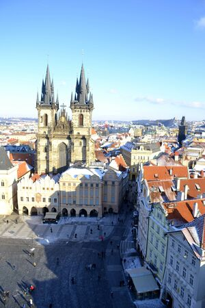 tynsky church: Architecture from Prague with blue sky