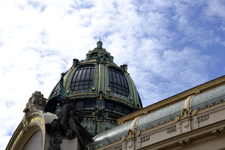 municipal: Municipal house in Prague and blue sky